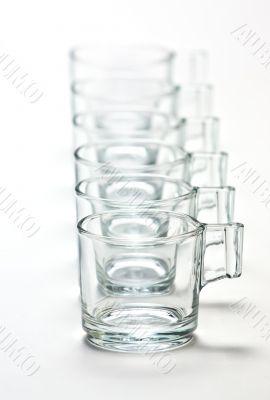 Empty transparent  mugs