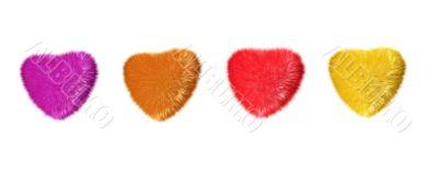 four fur hearts