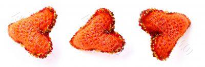 three woollen red hearts