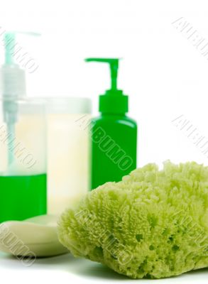natural sponge, soap and body lotion