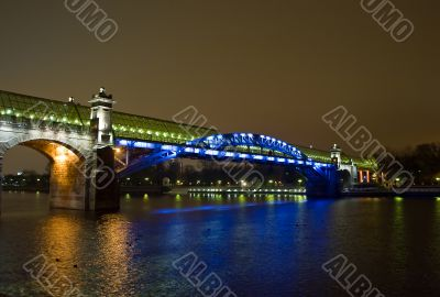 Foot bridge over the Moscow river. Russia. Night scene.