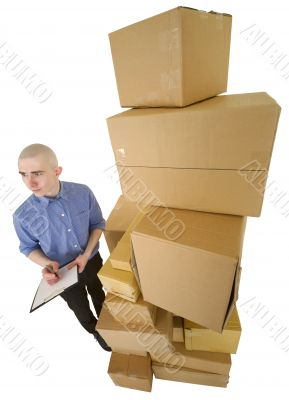 Courier and pile cardboard boxes