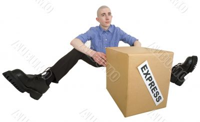 Courier and cardboard box with label