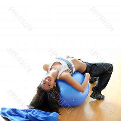 The beautiful girl on a sphere