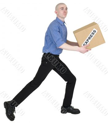 Courier and cardboard box