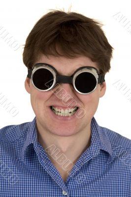 Man in welding goggles