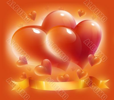 hearts and ribbon for valentine`s day