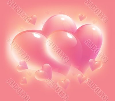pink hearts for valentine day