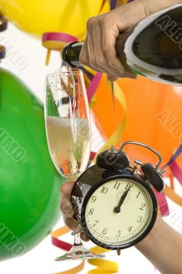 Turn of the year, New Year with champagne and clock