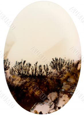 Cut of a stone with an abstract landscape from crystals