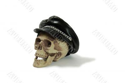 Biker cap on skull
