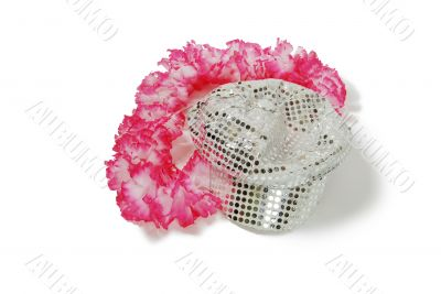 Pink and white Lei with sparkle cap
