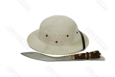 Pith Helmet and hunting knife