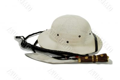 Hunting knife, whip and Pith Helmet