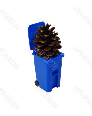 Pinecone and recycling bin
