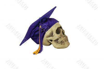 Graduation mortar board and skull