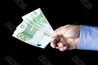 banknote on black background