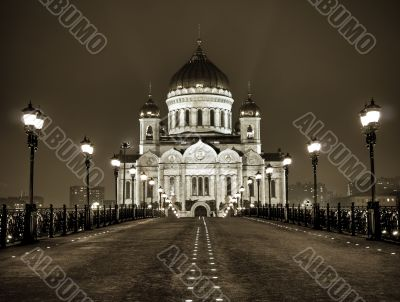 Cathedral of Christ the Saviour in Moscow night view from the br