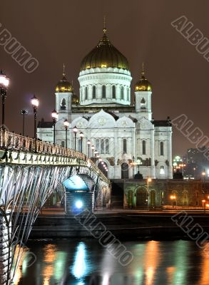 Cathedral of Christ the Saviour in Moscow night view accross the