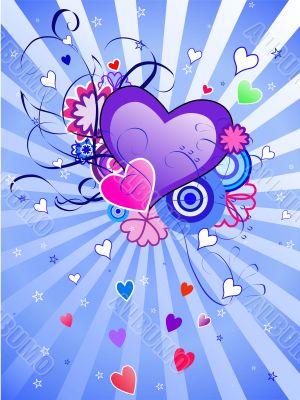 St.Valentine`s Day Blue Background