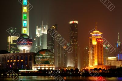 Panorama of Shanghai Pudong at night