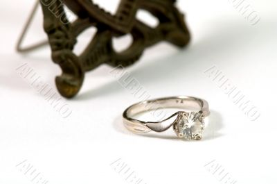 Crystal ring isolated over white