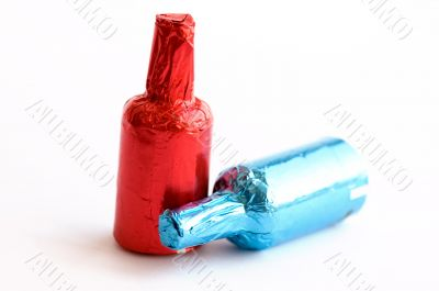 Colorful chocolate bottles