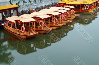 Line of boats at Qinhuai river
