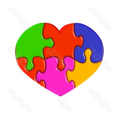 Heart from multi-coloured puzzles