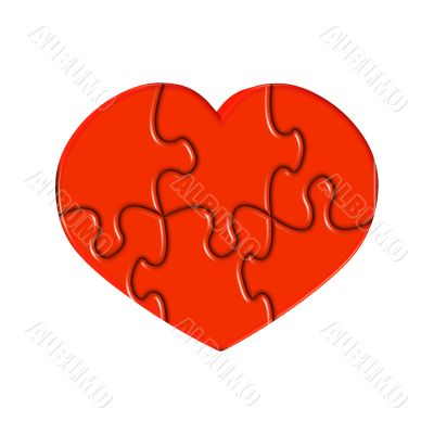 Red heart from puzzles