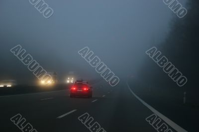 Fog on a german highway in winter