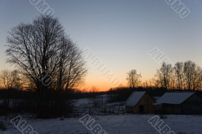 winter evening in Russian village
