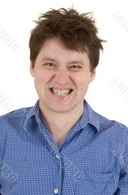 Man with bared teeth portrait