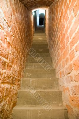 Staircase and stone walls