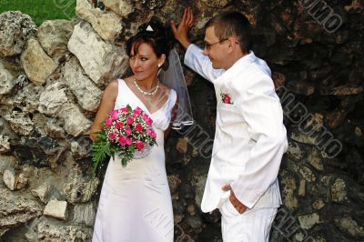 Bride and groom in the grotto