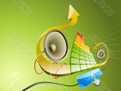 Pseudo 3D illustration of music