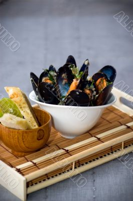 Fresh Mussels in a simple white bowl