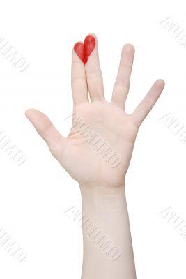 Heart drawn on fingers