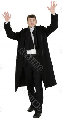 Portrait man in black coat