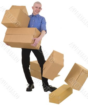 Man drops cardboard boxes