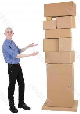 Man showing on pile cardboard boxes