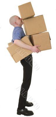 Man holding heap cardboard boxes