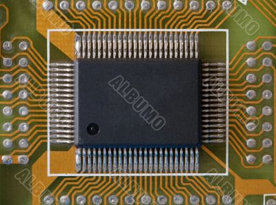 Microphoto of an integrated microcircuit