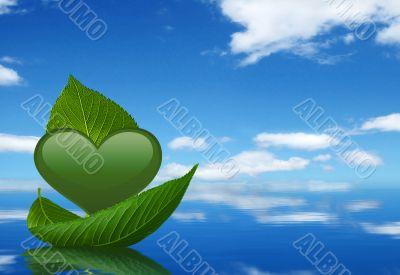 Green heart and leaf