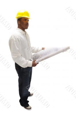 African American Contractor studying plans