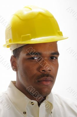 young African American man in safety hat
