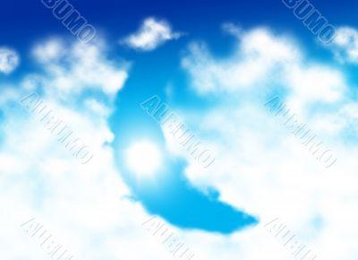 Moon shaped cloud