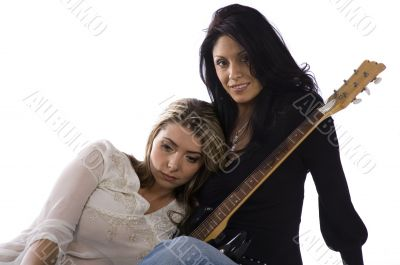 Two girl freind musicians resting