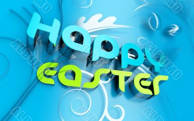 Happy Easter 3d text and florals