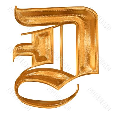 Golden pattern gothic letter D